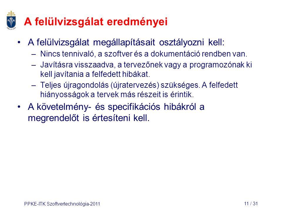 PPKE-ITK Szoftvertechnológia-201111 / 31 A felülvizsgálat eredményei A felülvizsgálat megállapításait osztályozni kell: –Nincs tennivaló, a szoftver é