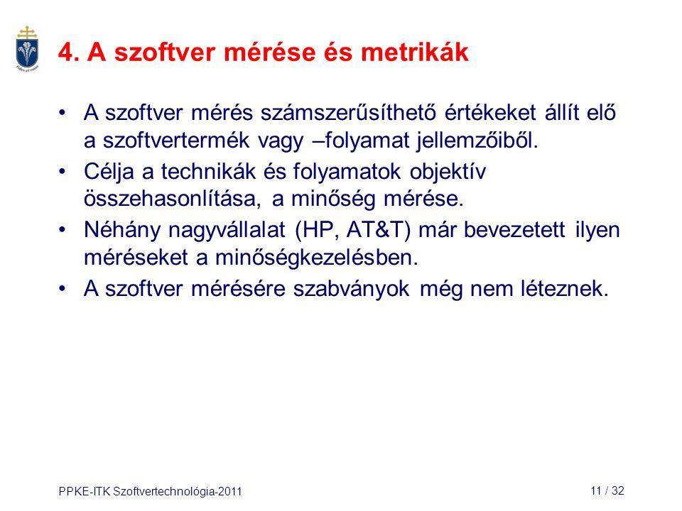 PPKE-ITK Szoftvertechnológia-201111 / 32 4. A szoftver mérése és metrikák A szoftver mérés számszerűsíthető értékeket állít elő a szoftvertermék vagy