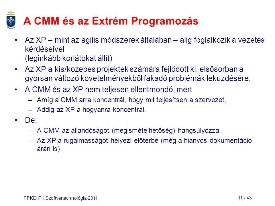PPKE-ITK Szoftvertechnológia-201111 / 43 A CMM és az Extrém Programozás Az XP – mint az agilis módszerek általában – alig foglalkozik a vezetés kérdés