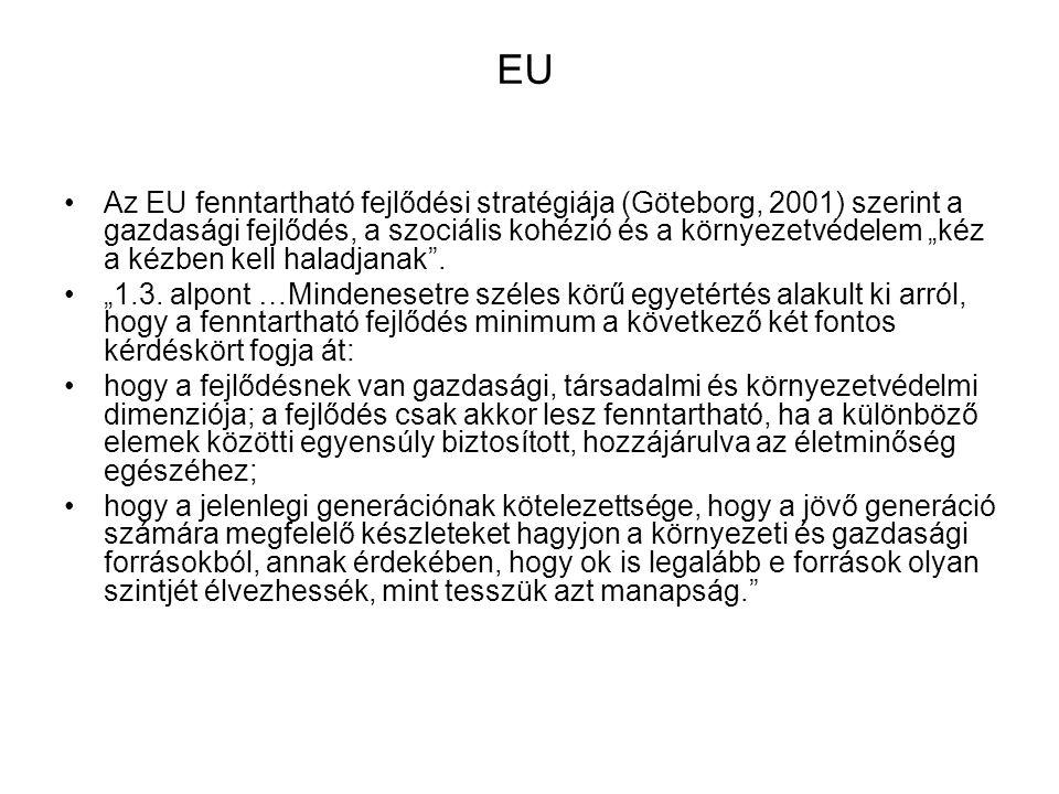 """EU Az EU fenntartható fejlődési stratégiája (Göteborg, 2001) szerint a gazdasági fejlődés, a szociális kohézió és a környezetvédelem """"kéz a kézben kel"""
