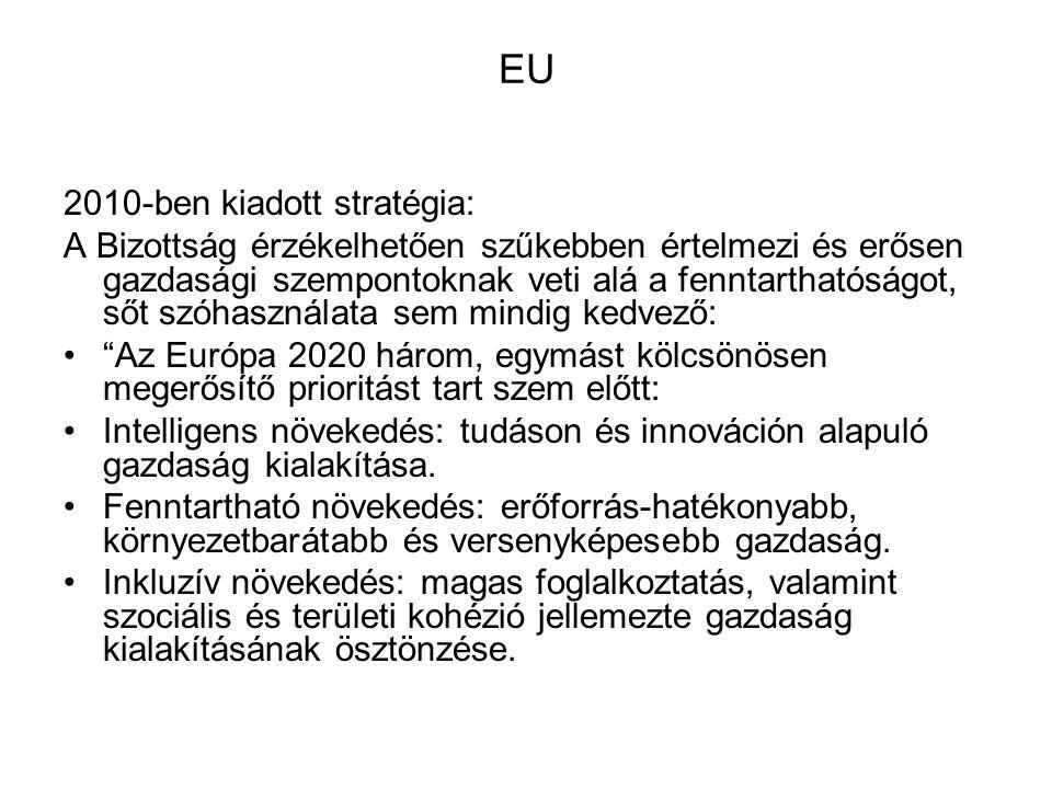 EU 2010-ben kiadott stratégia: A Bizottság érzékelhetően szűkebben értelmezi és erősen gazdasági szempontoknak veti alá a fenntarthatóságot, sőt szóha