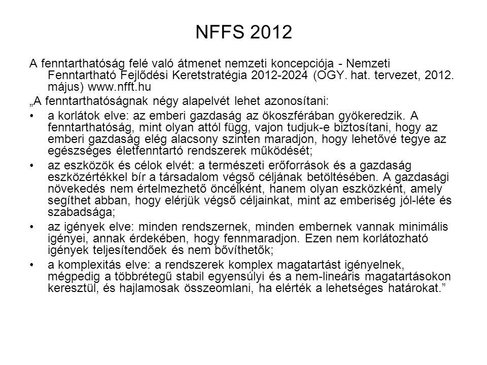 NFFS 2012 A fenntarthatóság felé való átmenet nemzeti koncepciója - Nemzeti Fenntartható Fejlődési Keretstratégia 2012-2024 (OGY. hat. tervezet, 2012.