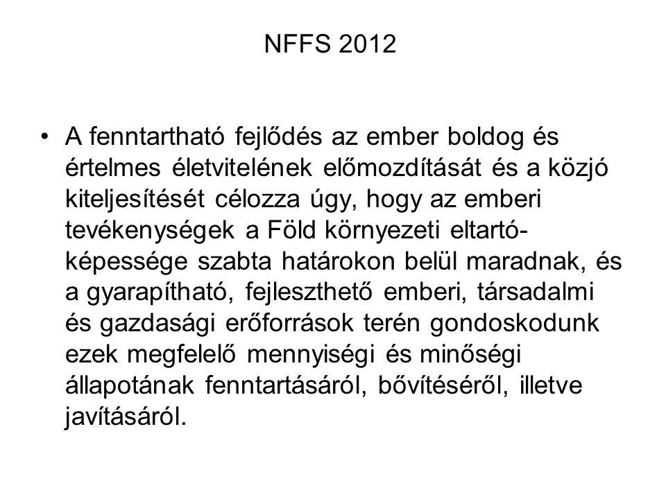 NFFS 2012 A fenntartható fejlődés az ember boldog és értelmes életvitelének előmozdítását és a közjó kiteljesítését célozza úgy, hogy az emberi tevéke