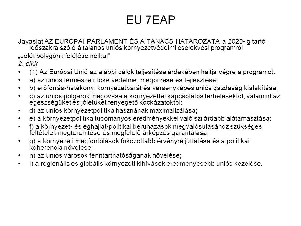 """EU 7EAP Javaslat AZ EURÓPAI PARLAMENT ÉS A TANÁCS HATÁROZATA a 2020-ig tartó időszakra szóló általános uniós környezetvédelmi cselekvési programról """"J"""