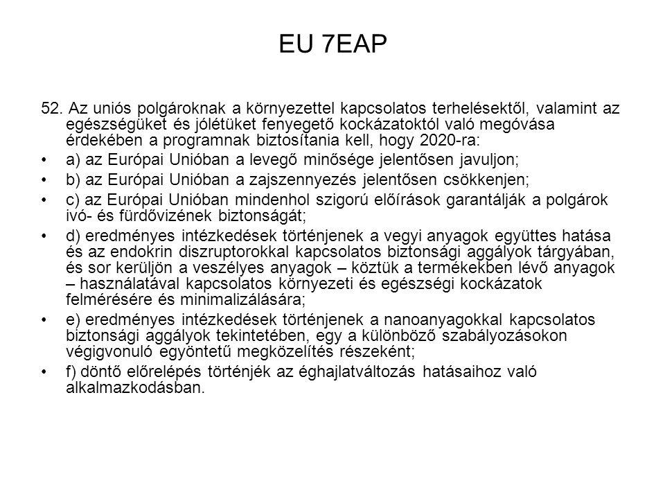EU 7EAP 52. Az uniós polgároknak a környezettel kapcsolatos terhelésektől, valamint az egészségüket és jólétüket fenyegető kockázatoktól való megóvása