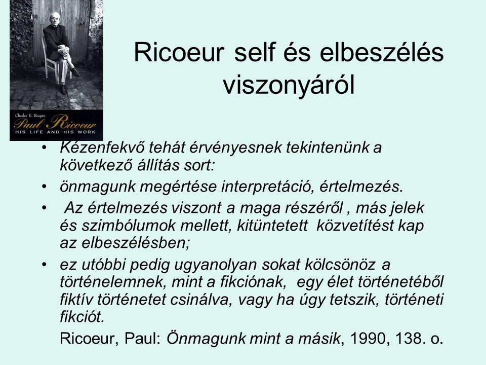 Ricoeur self és elbeszélés viszonyáról Kézenfekvő tehát érvényesnek tekintenünk a következő állítás sort: önmagunk megértése interpretáció, értelmezés.