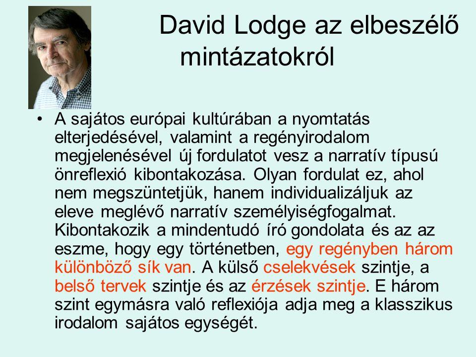 David Lodge az elbeszélő mintázatokról A sajátos európai kultúrában a nyomtatás elterjedésével, valamint a regényirodalom megjelenésével új fordulatot vesz a narratív típusú önreflexió kibontakozása.