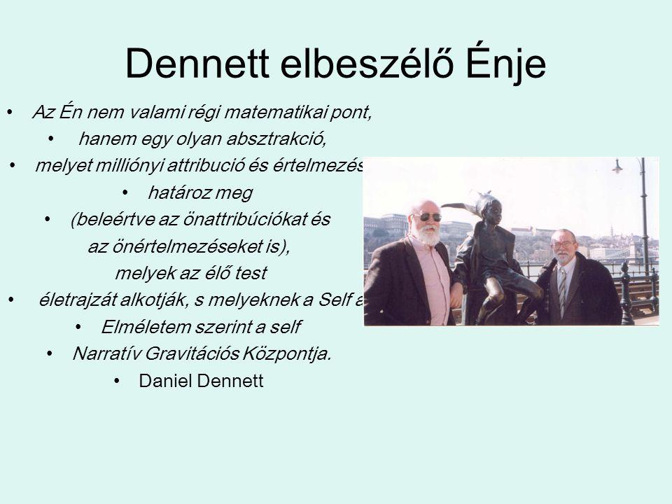 Dennett elbeszélő Énje Az Én nem valami régi matematikai pont, hanem egy olyan absztrakció, melyet milliónyi attribució és értelmezés határoz meg (beleértve az önattribúciókat és az önértelmezéseket is), melyek az élő test életrajzát alkotják, s melyeknek a Self a Elméletem szerint a self Narratív Gravitációs Központja.