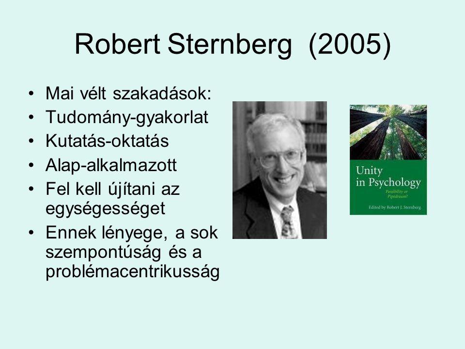 Robert Sternberg (2005) Mai vélt szakadások: Tudomány-gyakorlat Kutatás-oktatás Alap-alkalmazott Fel kell újítani az egységességet Ennek lényege, a so