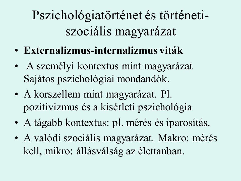 Pszichológiatörténet és történeti- szociális magyarázat Externalizmus-internalizmus viták A személyi kontextus mint magyarázat Sajátos pszichológiai m