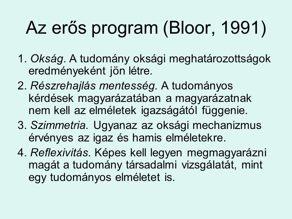 Az erős program (Bloor, 1991) 1. Okság. A tudomány oksági meghatározottságok eredményeként jön létre. 2. Részrehajlás mentesség. A tudományos kérdések