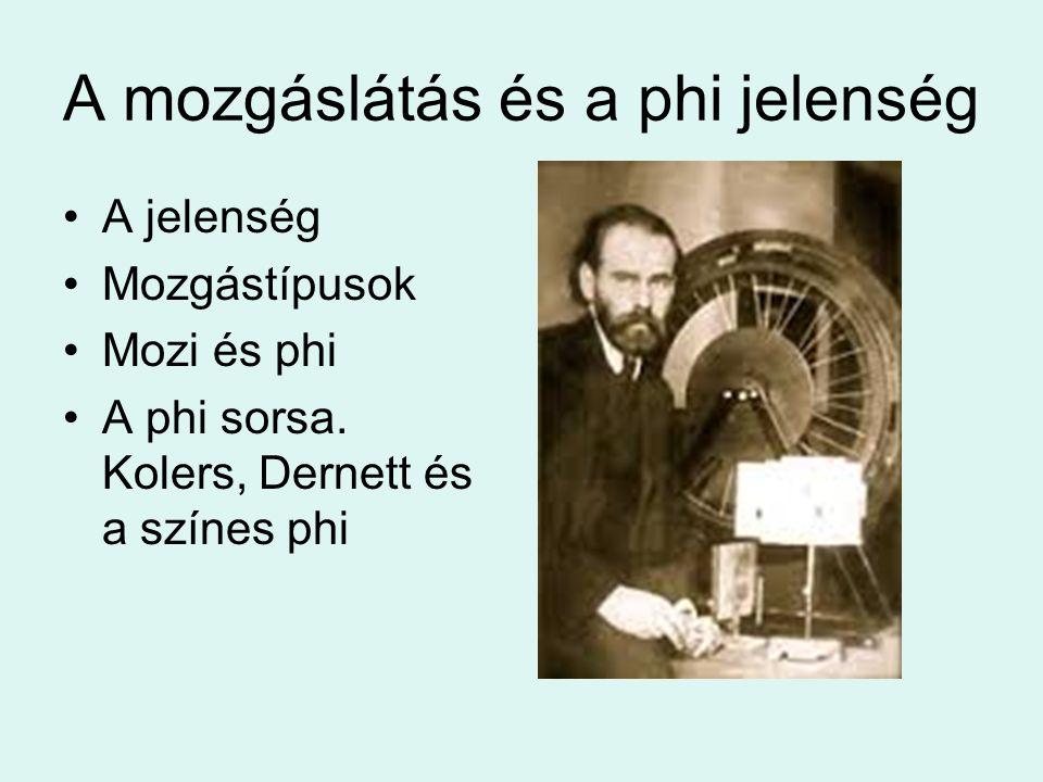 A mozgáslátás és a phi jelenség A jelenség Mozgástípusok Mozi és phi A phi sorsa. Kolers, Dernett és a színes phi