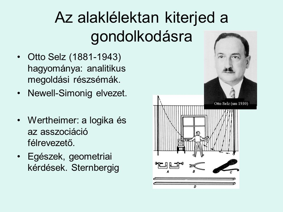 Az alaklélektan kiterjed a gondolkodásra Otto Selz (1881-1943) hagyománya: analitikus megoldási részsémák. Newell-Simonig elvezet. Wertheimer: a logik