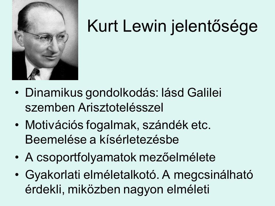 Kurt Lewin jelentősége Dinamikus gondolkodás: lásd Galilei szemben Arisztotelésszel Motivációs fogalmak, szándék etc. Beemelése a kísérletezésbe A cso