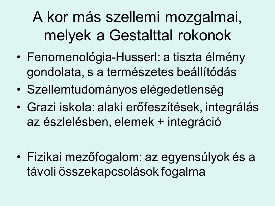 A kor más szellemi mozgalmai, melyek a Gestalttal rokonok Fenomenológia-Husserl: a tiszta élmény gondolata, s a természetes beállítódás Szellemtudomán
