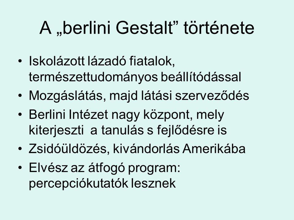 """A """"berlini Gestalt"""" története Iskolázott lázadó fiatalok, természettudományos beállítódással Mozgáslátás, majd látási szerveződés Berlini Intézet nagy"""