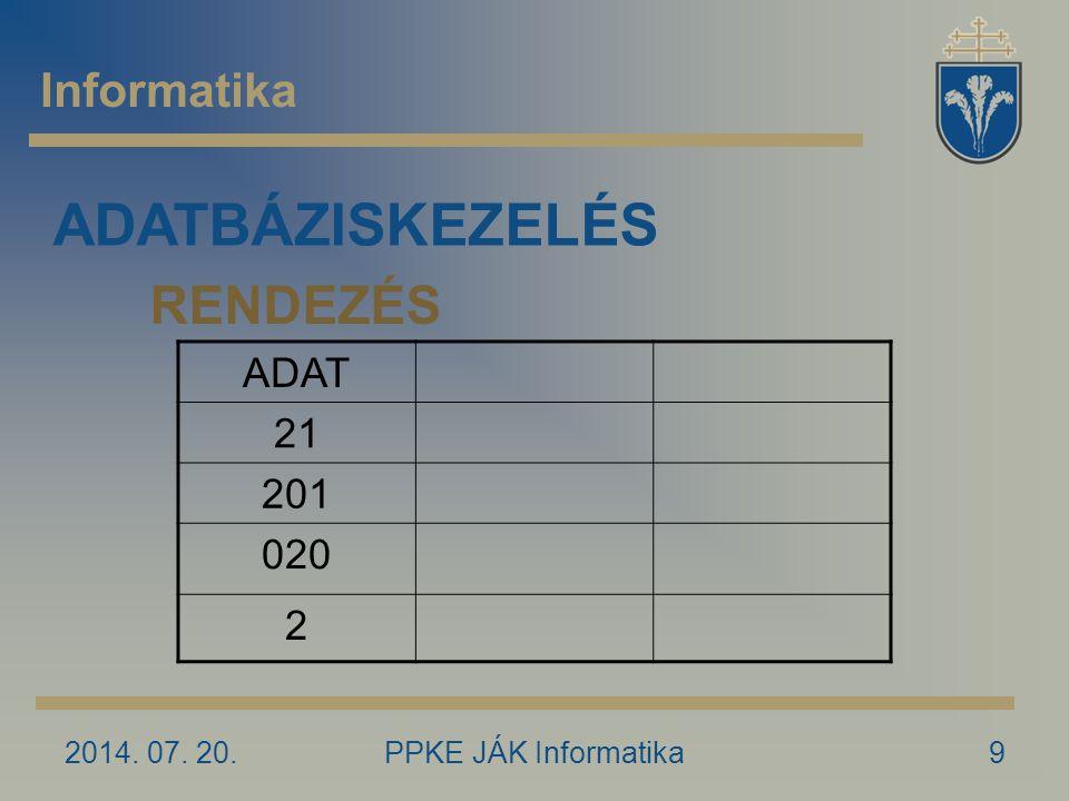 2014. 07. 20.PPKE JÁK Informatika9 Informatika ADATBÁZISKEZELÉS RENDEZÉS ADAT 21 201 020 2