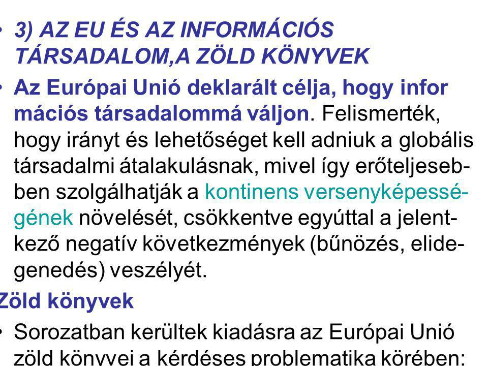 3) AZ EU ÉS AZ INFORMÁCIÓS TÁRSADALOM,A ZÖLD KÖNYVEK Az Európai Unió deklarált célja, hogy infor mációs társadalommá váljon. Felismerték, hogy irányt