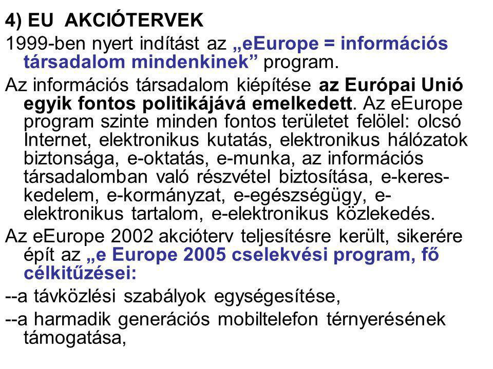 """4) EU AKCIÓTERVEK 1999-ben nyert indítást az """"eEurope = információs társadalom mindenkinek"""" program. Az információs társadalom kiépítése az Európai Un"""