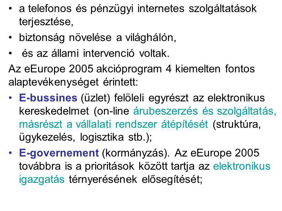a telefonos és pénzügyi internetes szolgáltatások terjesztése, biztonság növelése a világhálón, és az állami intervenció voltak. Az eEurope 2005 akció