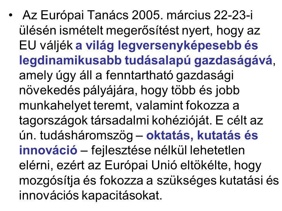 Az Európai Tanács 2005. március 22-23-i ülésén ismételt megerősítést nyert, hogy az EU váljék a világ legversenyképesebb és legdinamikusabb tudásalapú