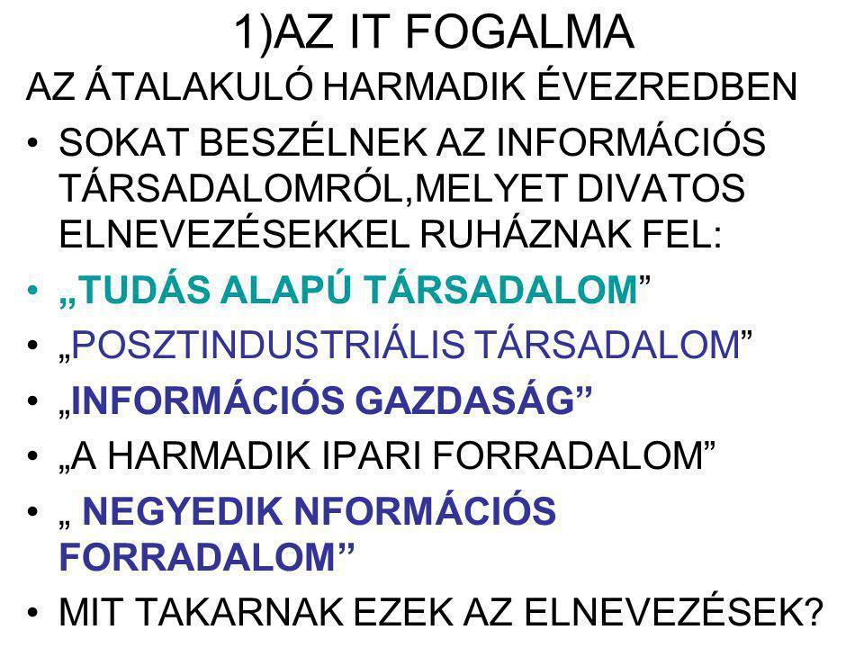 """1)AZ IT FOGALMA AZ ÁTALAKULÓ HARMADIK ÉVEZREDBEN SOKAT BESZÉLNEK AZ INFORMÁCIÓS TÁRSADALOMRÓL,MELYET DIVATOS ELNEVEZÉSEKKEL RUHÁZNAK FEL: """"TUDÁS ALAPÚ TÁRSADALOM """"POSZTINDUSTRIÁLIS TÁRSADALOM """"INFORMÁCIÓS GAZDASÁG """"A HARMADIK IPARI FORRADALOM """" NEGYEDIK NFORMÁCIÓS FORRADALOM MIT TAKARNAK EZEK AZ ELNEVEZÉSEK"""