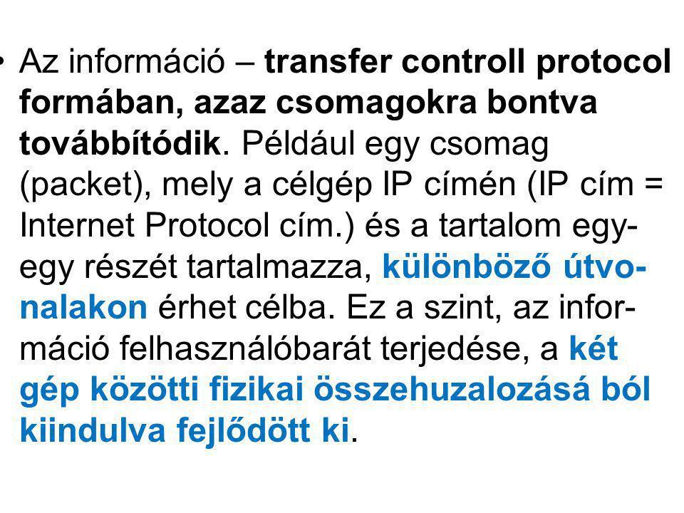Az információ – transfer controll protocol formában, azaz csomagokra bontva továbbítódik. Például egy csomag (packet), mely a célgép IP címén (IP cím