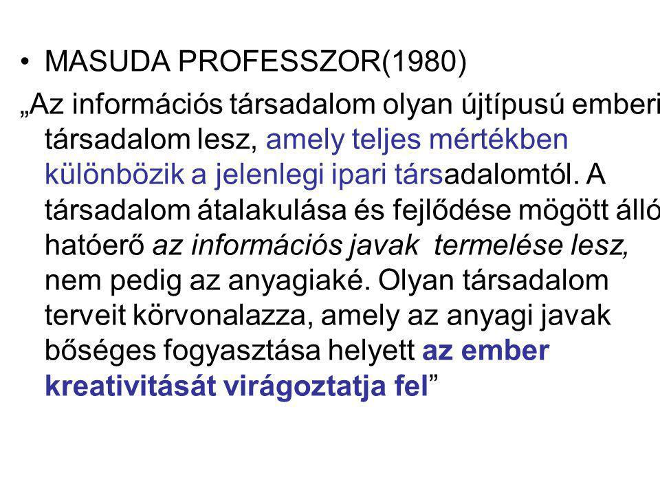 """MASUDA PROFESSZOR(1980) """"Az információs társadalom olyan újtípusú emberi társadalom lesz, amely teljes mértékben különbözik a jelenlegi ipari társadal"""