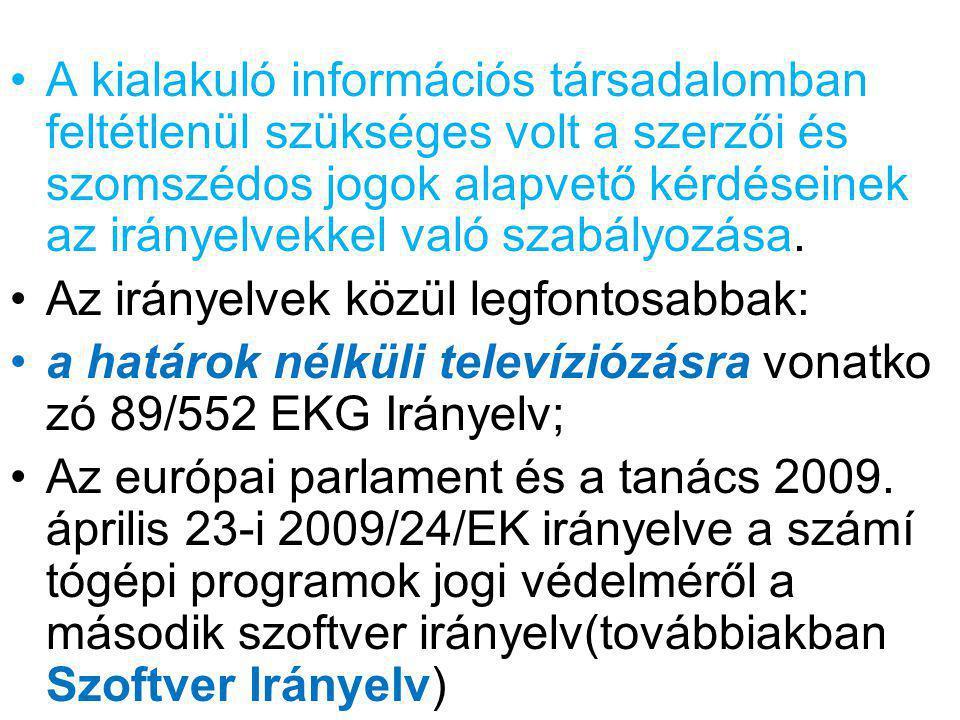 A kialakuló információs társadalomban feltétlenül szükséges volt a szerzői és szomszédos jogok alapvető kérdéseinek az irányelvekkel való szabályozása
