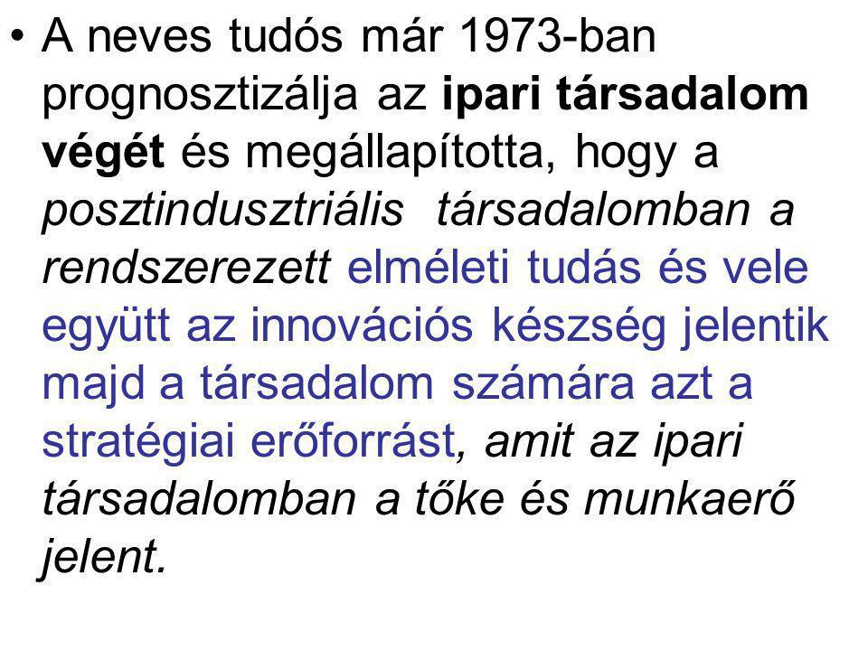 A neves tudós már 1973-ban prognosztizálja az ipari társadalom végét és megállapította, hogy a posztindusztriális társadalomban a rendszerezett elméle