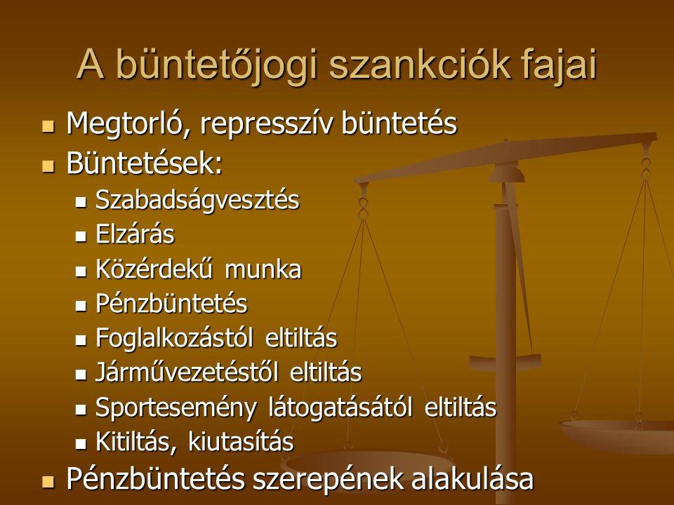A büntetőjogi szankciók fajai Megtorló, represszív büntetés Megtorló, represszív büntetés Büntetések: Büntetések: Szabadságvesztés Szabadságvesztés El