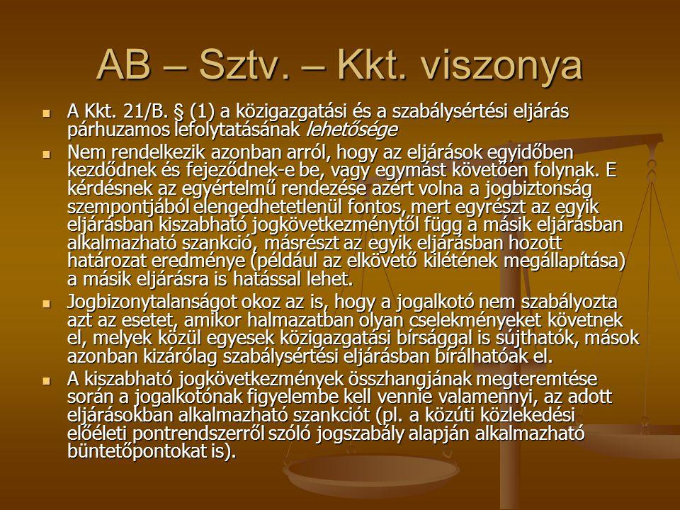 AB – Sztv. – Kkt. viszonya A Kkt. 21/B. § (1) a közigazgatási és a szabálysértési eljárás párhuzamos lefolytatásának lehetősége A Kkt. 21/B. § (1) a k