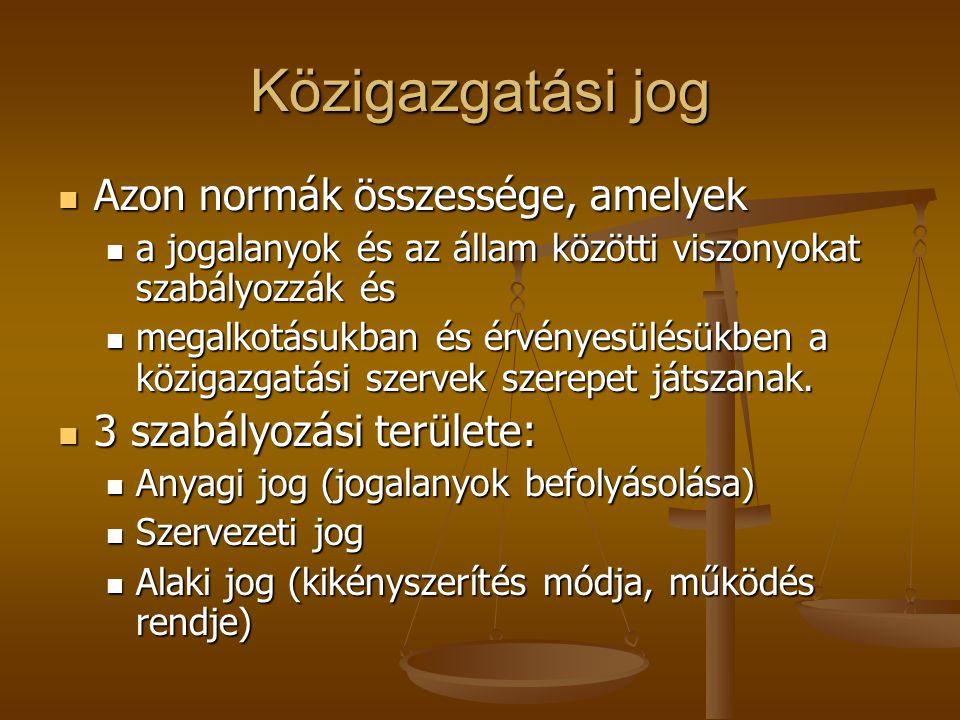 Közigazgatási jog Azon normák összessége, amelyek Azon normák összessége, amelyek a jogalanyok és az állam közötti viszonyokat szabályozzák és a jogal