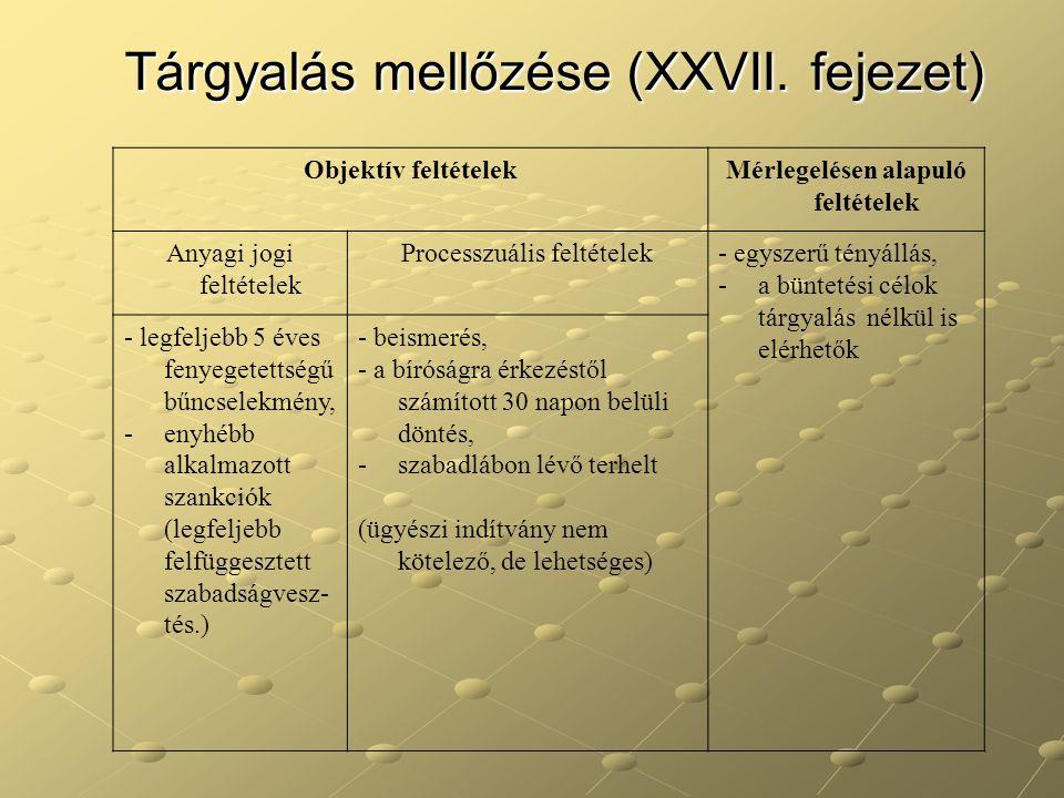 Tárgyalás mellőzése (XXVII. fejezet) Objektív feltételekMérlegelésen alapuló feltételek Anyagi jogi feltételek Processzuális feltételek- egyszerű tény