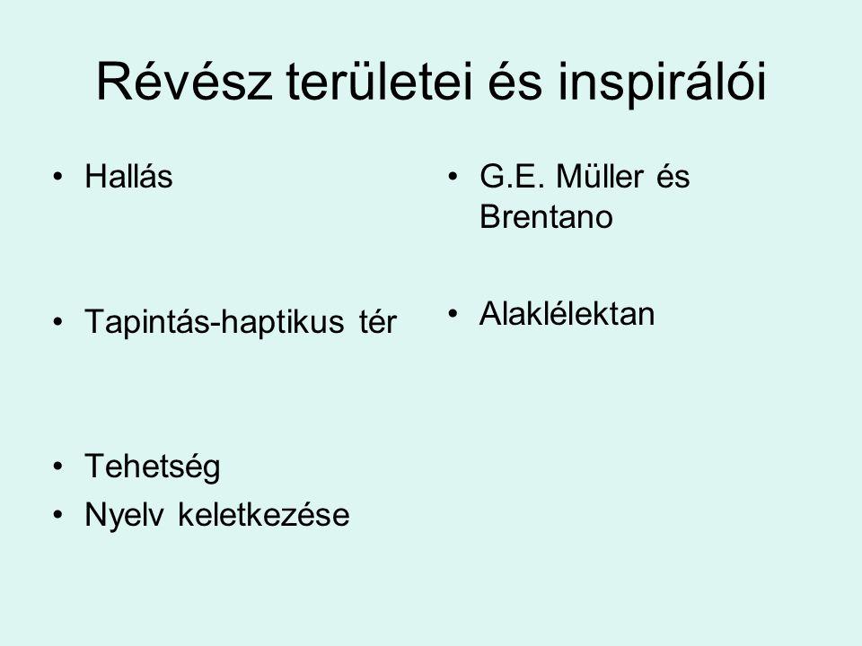 Révész területei és inspirálói Hallás Tapintás-haptikus tér Tehetség Nyelv keletkezése G.E. Müller és Brentano Alaklélektan