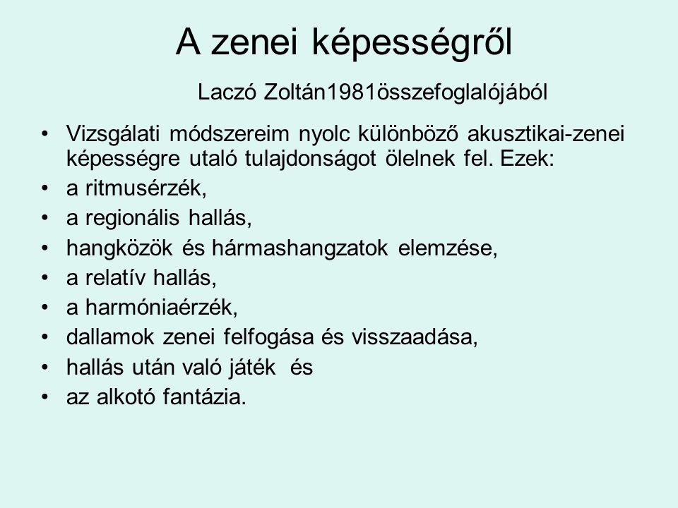 A zenei képességről Laczó Zoltán1981összefoglalójából Vizsgálati módszereim nyolc különböző akusztikai-zenei képességre utaló tulajdonságot ölelnek fe