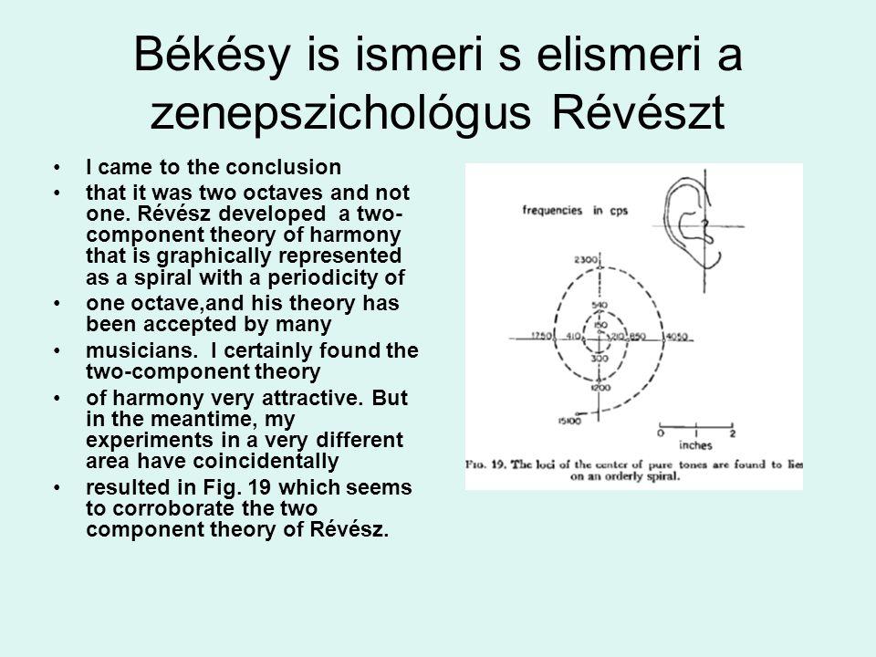 Békésy is ismeri s elismeri a zenepszichológus Révészt I came to the conclusion that it was two octaves and not one. Révész developed a two- component