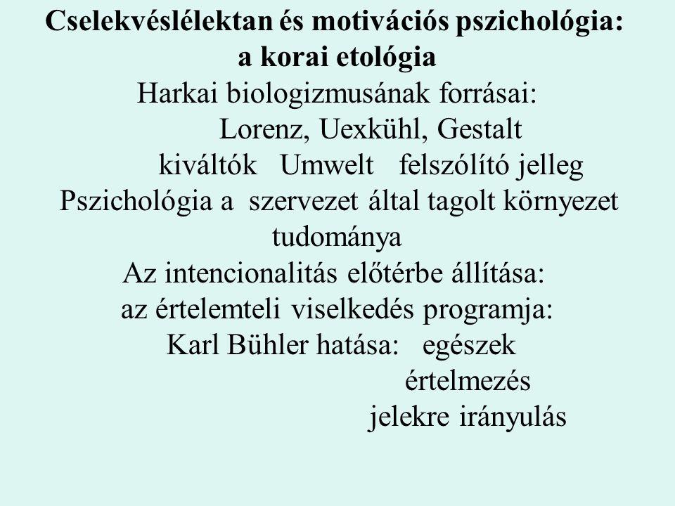 Cselekvéslélektan és motivációs pszichológia: a korai etológia Harkai biologizmusának forrásai: Lorenz, Uexkühl, Gestalt kiváltók Umwelt felszólító je