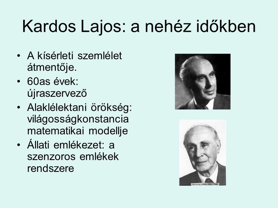 Kardos Lajos: a nehéz időkben A kísérleti szemlélet átmentője. 60as évek: újraszervező Alaklélektani örökség: világosságkonstancia matematikai modellj