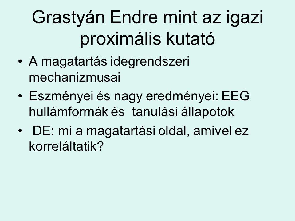 Grastyán Endre mint az igazi proximális kutató A magatartás idegrendszeri mechanizmusai Eszményei és nagy eredményei: EEG hullámformák és tanulási áll