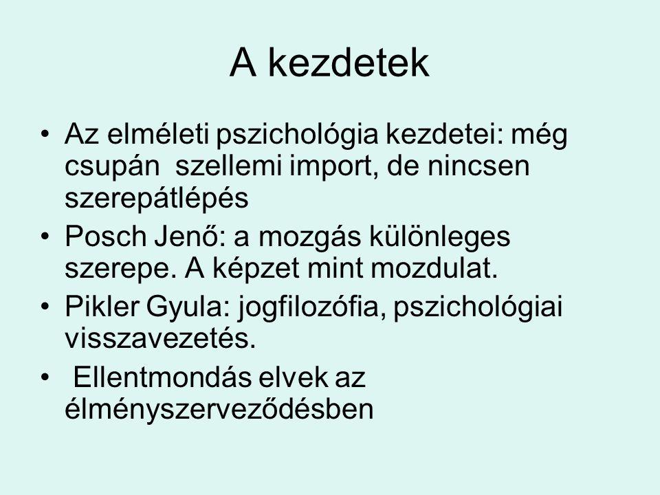 A kezdetek Az elméleti pszichológia kezdetei: még csupán szellemi import, de nincsen szerepátlépés Posch Jenő: a mozgás különleges szerepe. A képzet m