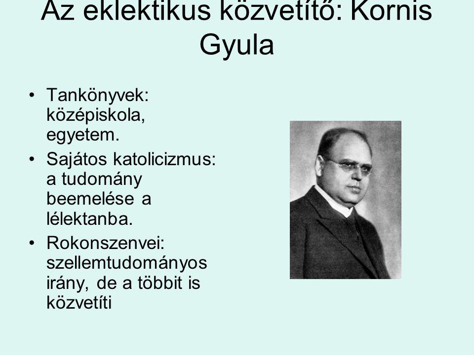 Az eklektikus közvetítő: Kornis Gyula Tankönyvek: középiskola, egyetem. Sajátos katolicizmus: a tudomány beemelése a lélektanba. Rokonszenvei: szellem