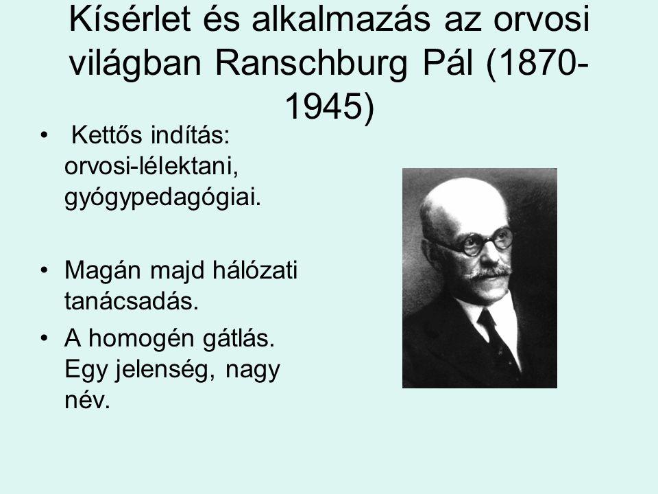 Kísérlet és alkalmazás az orvosi világban Ranschburg Pál (1870- 1945) Kettős indítás: orvosi-lélektani, gyógypedagógiai. Magán majd hálózati tanácsadá