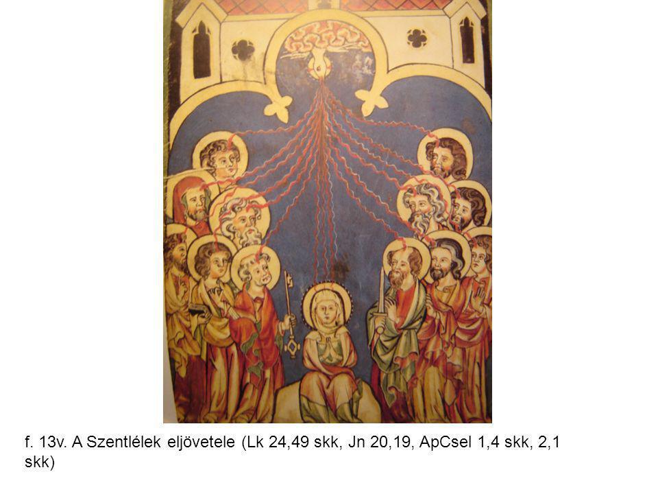 f. 13v. A Szentlélek eljövetele (Lk 24,49 skk, Jn 20,19, ApCsel 1,4 skk, 2,1 skk)