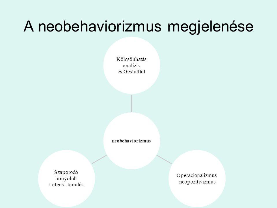 A neobehaviorizmus megjelenése neobehaviorizmus Kölcsönhatás analízis és Gestalttal Operacionalizmus neopozitivizmus Szaporodó bonyolult Latens.