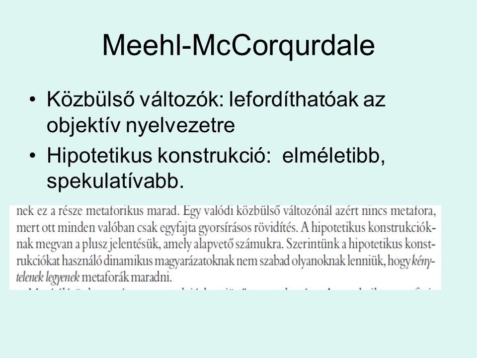 Meehl-McCorqurdale Közbülső változók: lefordíthatóak az objektív nyelvezetre Hipotetikus konstrukció: elméletibb, spekulatívabb.