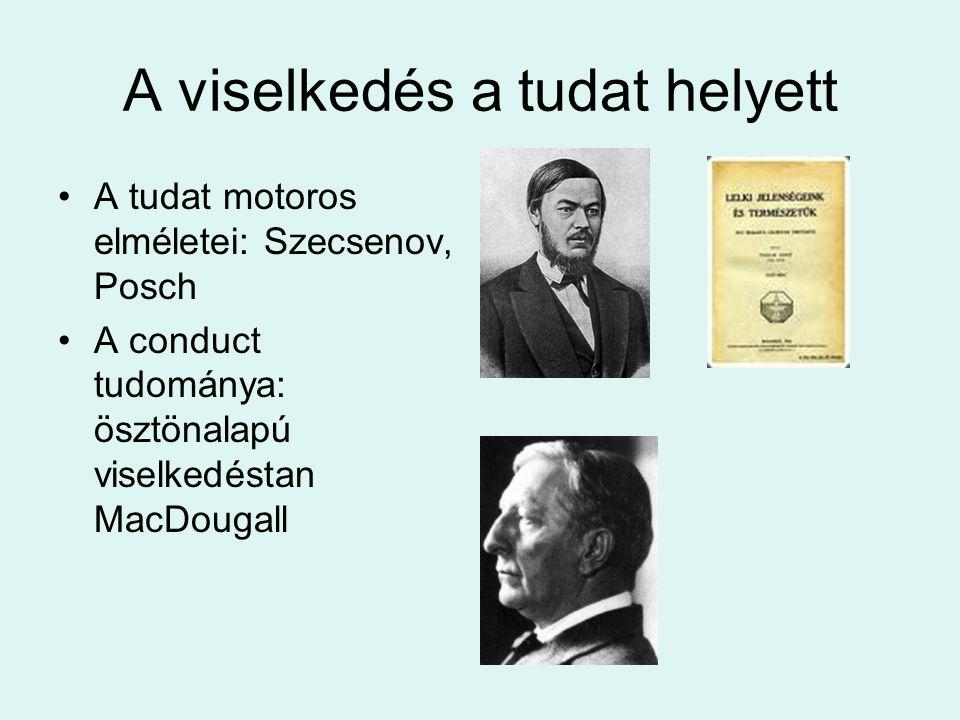 A viselkedés a tudat helyett A tudat motoros elméletei: Szecsenov, Posch A conduct tudománya: ösztönalapú viselkedéstan MacDougall