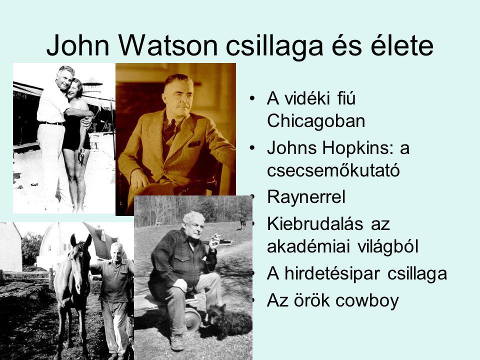 John Watson csillaga és élete A vidéki fiú Chicagoban Johns Hopkins: a csecsemőkutató Raynerrel Kiebrudalás az akadémiai világból A hirdetésipar csillaga Az örök cowboy