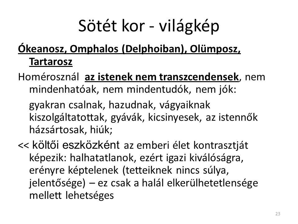 23 Sötét kor - világkép Ókeanosz, Omphalos (Delphoiban), Olümposz, Tartarosz Homérosznál az istenek nem transzcendensek, nem mindenhatóak, nem mindent