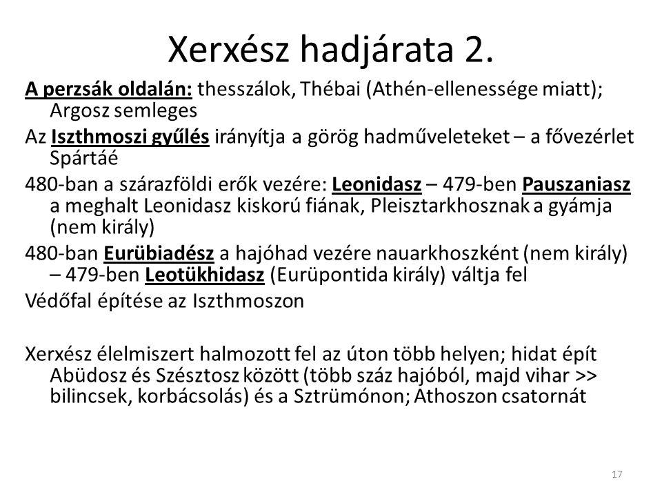 17 Xerxész hadjárata 2. A perzsák oldalán: thesszálok, Thébai (Athén-ellenessége miatt); Argosz semleges Az Iszthmoszi gyűlés irányítja a görög hadműv